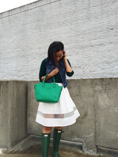 What Nicole Wore: Luck of the Irish // vera bradley, st. patrick's day, hunter boots outfit, white skirt, emerald handbag, target style, forever 21, spring outfit