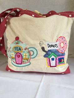 Sweet Shop Double Sided Applique Tote Bag (side 2) Applique designs from Designs By JuJu For sale on my little Etsy shop. https://www.etsy.com/uk/listing/290240169/sweet-shop-applique-tote-bag-calico-tote?ref=featured_listings_row