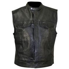 Xelement Men's XS1937 Black Leather Motorcycle Vest - LeatherUp.com