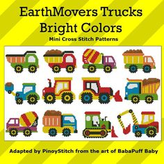 Mini Cross Stitch Pattern: EarthMovers Trucks Bright Colors Design - could be adapted to knitting patterns Mini Cross Stitch, Cross Stitch Borders, Modern Cross Stitch, Counted Cross Stitch Patterns, Cross Stitching, Cross Stitch Embroidery, Embroidery Patterns, Knitting Patterns, Embroidery Techniques