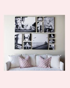 {the studio of Marla and Shane Carter} A FANTASTIC display of black and white photography on canvas.  Notice the varying sizes, and how they work together to make one display....  LOVELY.