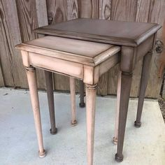 Lisa Skelton Harrison Paintiques used Apricot and Mud Puddle on these adorable nestled tables and added some Best Dang Wax in Clear and Brown.