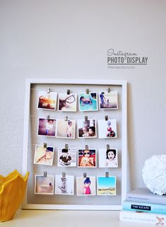 Instagram Project: How To Display Your Instagram Pictures  Just need an empty frame , some string and clothes pins.