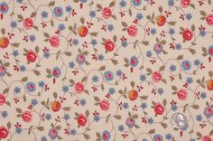 Cream/Antique Blue/Rose/Olive Floral Batiste Fabric