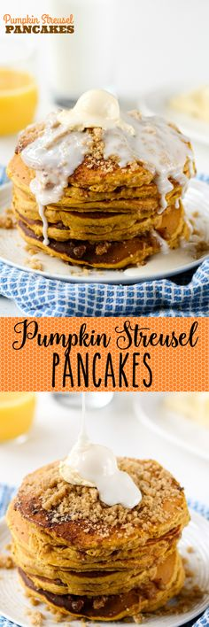 Pumpkin Streusel Pancakes -- the perfect cozy breakfast! Super simple to whip up with Bisquick, pumpkin, and a few other ingredients. Love the streusel topping!!