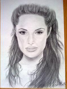 Bleistiftzeichnung, Gesicht, Frau, Portrait, Angelina jolie, Zeichnungen