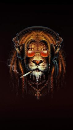 Lion Smoking Artwork iPhone Wallpaper - iPhone Wallpapers