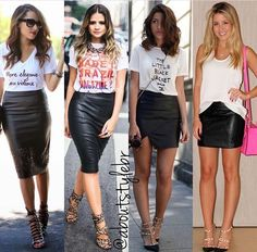 Leather skirts and T-shirt Edgy Outfits, Simple Outfits, Summer Outfits, Fashion Outfits, Black Leather Skirts, Leather Dresses, Pencil Skirt Outfits, Looks Chic, Curvy Fashion
