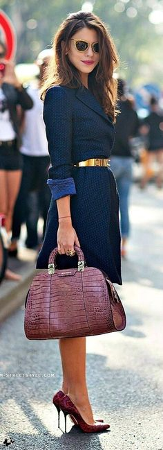 #spring #street #style #inspiration |Navy Coat + Burgundy Snake Leather Pumps