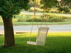 Repurposed Dining Room Chair Tree Swing by MyAppleTreeAndMe. $300.00 USD, via Etsy.
