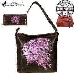 Montana West NativeAmerican Concealed Carry Tote Handbag/ Wallet Set Coffee/Pink