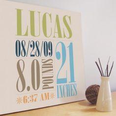 Custom Birth Stats Wall Art from Trendy Peas