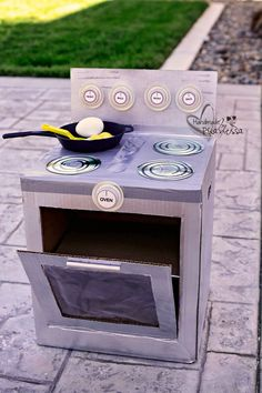 This blogger's son loves to cook, so she decided to let him practice on his very own play oven (the burners are made from CDs — genius!).