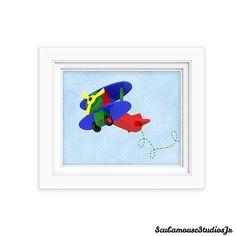 Printable Nursery Art Print 8x10 Airplane by ScubamouseStudiosJr, $5.00