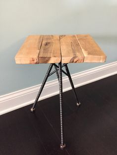 Reclaimed Dining Table Lovely Rebar Stool Rustic Industrial End Table Furniture Custom Reclaimed Dining Table, Wood End Tables, Industrial Metal Chairs, Rustic Industrial, Wood Steel, Wood And Metal, Steel Furniture, Table Furniture, Living Room Decor Items