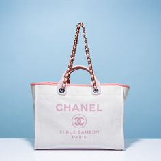 7973f7bb5bb4e Chanel Pink Deauville canvas tote