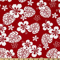 Paradise Pareaus Red from @fabricdotcom  From Robert Kaufman Fabrics, this fabric is perfect for quilting, apparel and home decor accents. Colors include white on a red background.