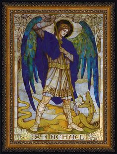 Archangel Michael mosaic by James Powell, St. Johns Church, Wiltshirearound 1888-1915