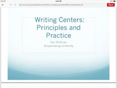 Great basics for setting up a student run writing center