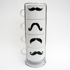 Moustache Coffee Cup Tower.