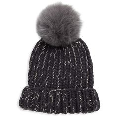 Eugenia Kim Rain Fox Fur Pom Hat (1 020 PLN) ❤ liked on Polyvore featuring accessories, hats, winter, chunky hat, fox fur hat, fox fur pom pom beanie, pom beanie and hand knit hats