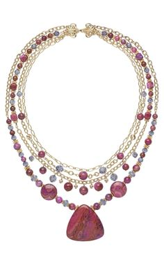 Multi-Strand Necklace with Crazy Lace Agate Gemstone Beads, Swarovski® Crystal Beads and Gold-Filled Chain