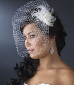 Chic birdcage wedding veil with fascinator and art deco earrings!