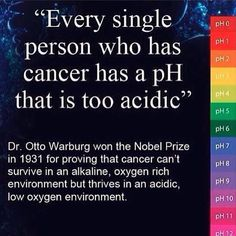 Cancer can't survive in an alkaline, oxygen rich environment but thrives in an acidic low oxygen environment - great reason to eat an alkaline plant-based diet #plantbased #health