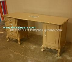 Light Brown Baroque Furniture Nail Table 4 Drawers 1 Door