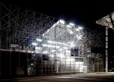 Schaustelle by J. Mayer H | The skeletal 3-story temporary structure --built with no shortage of scaffolding-- was designed to host the exhibitions, film screenings, talks and other events of the Pinakothek der Moderne in Munich during its 7-month renovation.