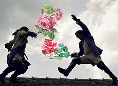 The war of the Roses. Digital vintage collage, Annette von Stahl