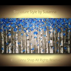 Original Large Contemporary fine art by Susanna - Black White and Blue Birch Trees Art Landscape Palette Knife Oil Painting by Susanna  This Painting is dry and ready to ship.  -Artwork description: abstract landscape -Size/surface: 40 x 20 x 1.5 deep profile, back wrapped stretched canvas, black p