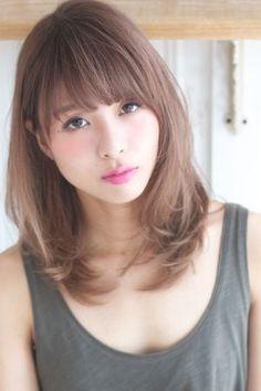 外国人風カラー ラベンダーアッシュA216 Medium Asian Hair, Medium Hair Styles, Short Hair Styles, Korean Hairstyle Medium Shoulder Length, Kawaii Hairstyles, Permed Hairstyles, Asian Hairstyles, Asian Hair Fringe, Middle Length Hair
