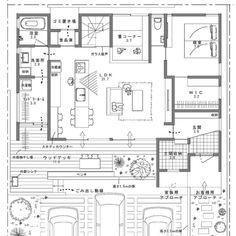 平屋風で、キッチンから見渡せる間取り。 | folk Japanese Architecture, Architecture Plan, Concept Board, Sims House, Japanese House, House Layouts, Plan Design, Laundry Room, House Plans