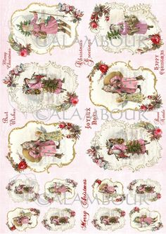 Calambour paper, glossy, light with great adhesion. Pattern: Santa Claus' arrival with angels, roses, presents and writing.