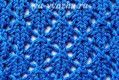 Узор спицами №43 «Ажурные квадратики»  Узор спицами «Ажурные квадратики» прекрасно подойдет как для вязания женского весенне-летнего пуловера, так и для палантина.