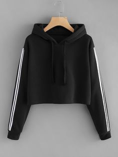 To find out about the Drawstring Hoodie Striped Tape Sleeve Sweatshirt at SHEIN, part of our latest Sweatshirts ready to shop online today! Girls Fashion Clothes, Teen Fashion Outfits, Mode Outfits, Girl Outfits, Clothes For Women, Fashion Women, Teenager Outfits, Fashion 2017, Fashion Ideas