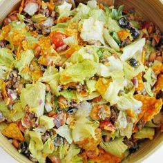 Doritos Taco Salad was a staple at all of our church potlucks growing up and as far as I'm concerned, this is the ONLY way to serve it. A Doritos Taco Salad is an old school classic straight from my mama's kitchen! Ww Recipes, Skinny Recipes, Mexican Food Recipes, Cooking Recipes, Healthy Recipes, Casseroles Healthy, Pork Recipes, Recipies, Family Recipes