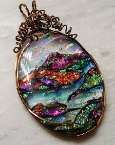 Sale! Oval mountain scene dichroic fused glass domed  pendant spectacular color magenta orange green blue and sheer ribbons of color