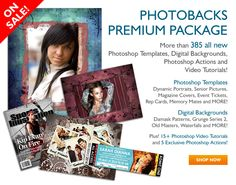 Photobacks incredible collection of 385+ Photoshop Templates and Digital Backgrounds, plus Grunge Overlays, Photoshop Actions and Video Tutorials. Enjoy templates for portraits, weddings, seniors, photo books, event tickets, promotions and much more!