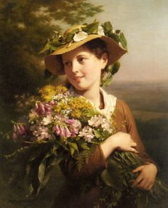 """Fritz Zuber-Buhler (1822-1896) A Young Beauty holding a Bouquet of Flowers Oil on canvas 73 x 59.1 cm (28½"""" x 23¼"""") Private collection"""