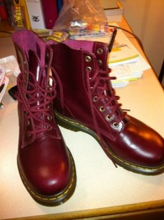 Red Leather Boots Awesome Docs! My daughter has a purple pair and wears them year round with shorts, skirts, doesnt matter she wears them daily!