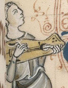 Not a citole, but... Could this be where the citole thumbhole comes from? It was supposed to be derived from the cithara-lyre. Is also held like a citole. Detail from The Luttrell Psalter, British Library Add MS 42130 (medieval manuscript,1325-1340), f274r