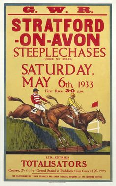 'Stratford-on-Avon Steeplechases', GWR poster, 6 May 1933. BUY VINTAGE POSTERS
