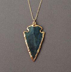 Dark Green Jasper Arrowhead Gold Necklace by jennijewel on Etsy, $46.00