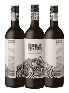 Creative Wine Label Prints, bar code incorporated with hills!
