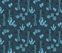 Cactus & Prickly Pears - Parisian Blue/Soft Blue by Andrea Lauren by andrea_lauren, click to purchase fabric