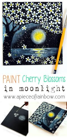 How easy and fun it is to Paint on Black Paper and create a magical night landscape of cherry blossoms in moon light! #painting #kids #fun