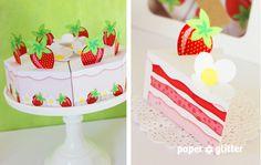 Printable strawberry cake box
