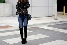 Winter date night outfit idea, topshop sheer polka dot blouse, over the knee boots Oufits Casual, Date Outfit Casual, Date Outfits, Casual Outfits, College Outfits, Winter Date Night Outfits, Summer Outfits, Winter Night, Outfit Winter